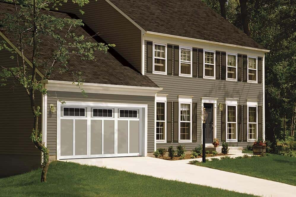 Eastman E-12, 14' x 7', Claystone door and Ice White overlays, 4 vertical lite Orion windows