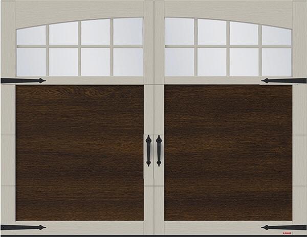 Princeton P-11, 9' x 7', Chocolate Walnut door and Claystone overlays, Arch Overlays with 8 lite Panoramic windows