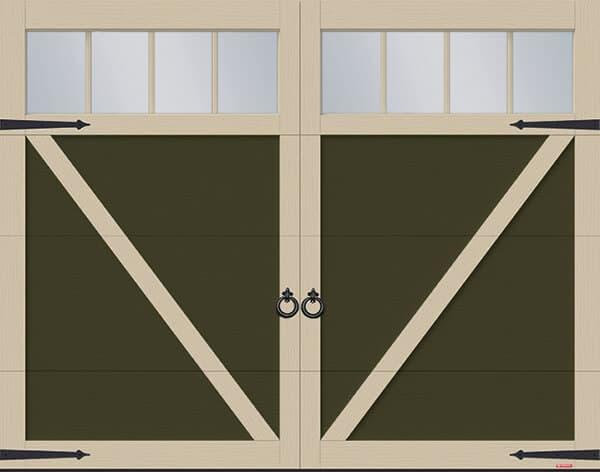 Eastman E-23, 9' x 7', Dark Sand door and Claystone overlays, 4 vertical lite Panoramic windows