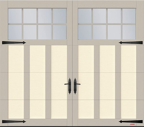 Princeton P-13, 8' x 7', Desert Sand door and Claystone overlays, 8 lite Panoramic windows