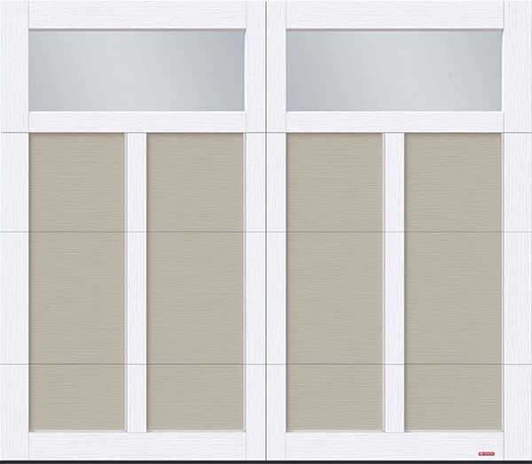 Eastman E-12, 8' x 7', Claystone door and Ice White overlays, Clear Panoramic windows