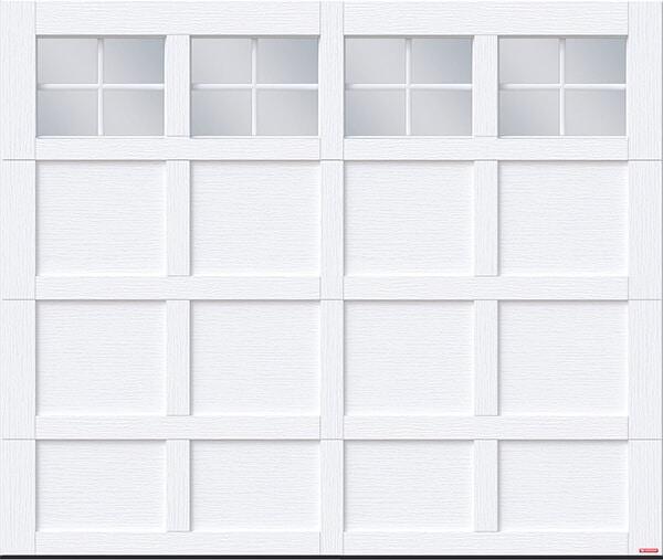 Cambridge CM, 8' x 7', Ice White door and overlays, 4 lite Panoramic windows