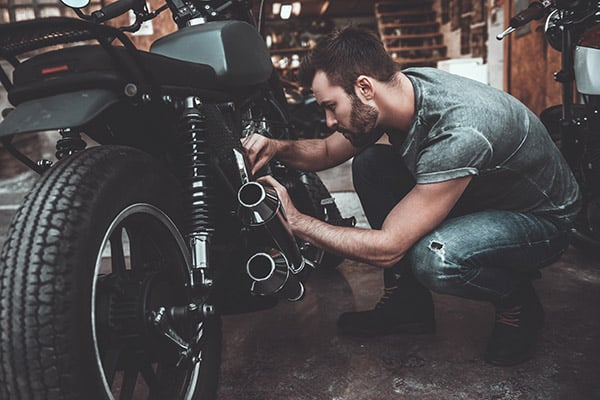 motorcycle storage inside a garage