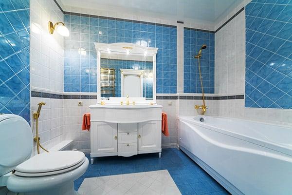 blue bathroom remodeled