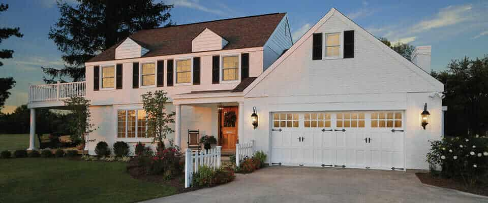 Clopay Reserve Wood Collection white garage doors