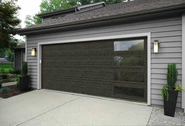 slate colored modern Clopay garage door