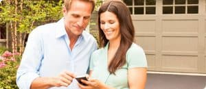 Couple looking at their phone