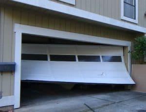 Garage door off its tracks