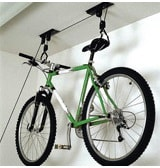 Brackets for hanging a bicycle from the ceiling