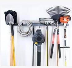 Hooks for hanging garden tools