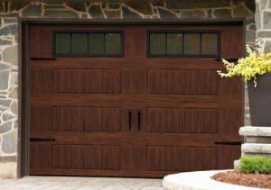 garage door with Faux woodgrain finish