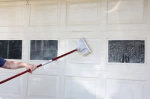 washing a door with soap