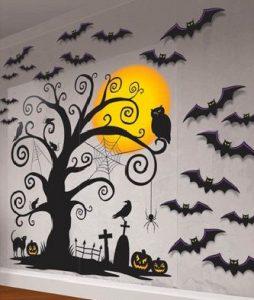 Halloween decoration on a garage door