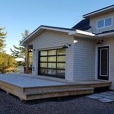 a patio with a garage door