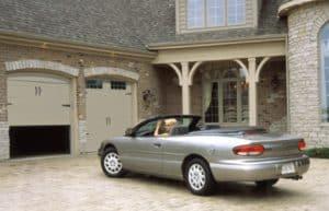 Driveway with garage doors