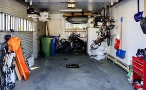 Interior view of a garage with different stuff