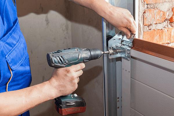 garage door getting installed