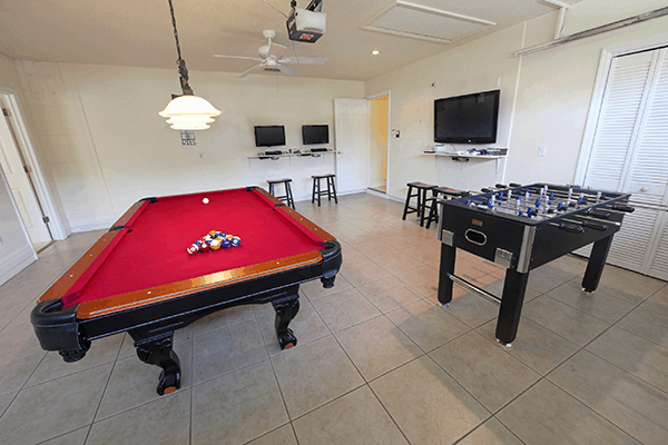 garage turned into a basement game room