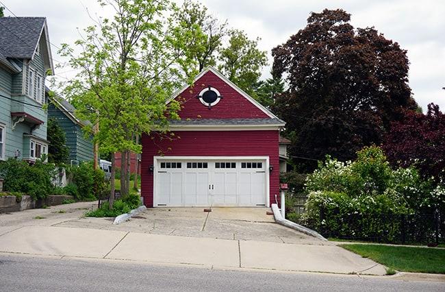 red detached garage