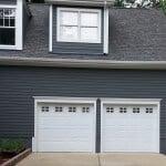 white double car garage