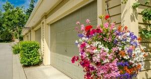 Garage doors with flowers