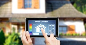 smart phone showing a home security systems