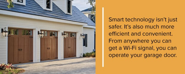 Smart technology isn't just safer. It's also much more efficient and convenient. From anywhere you can get a Wi-Fi signal, you can operate your garage door.