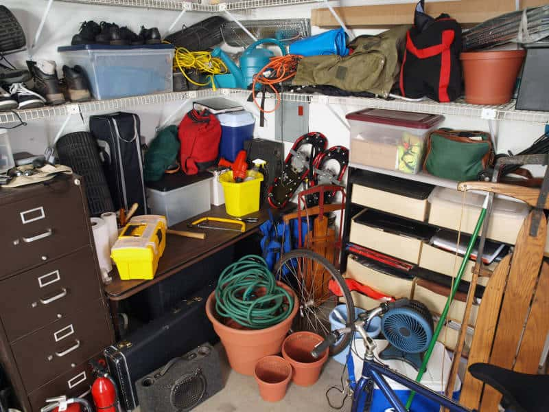 a very cluttered garage