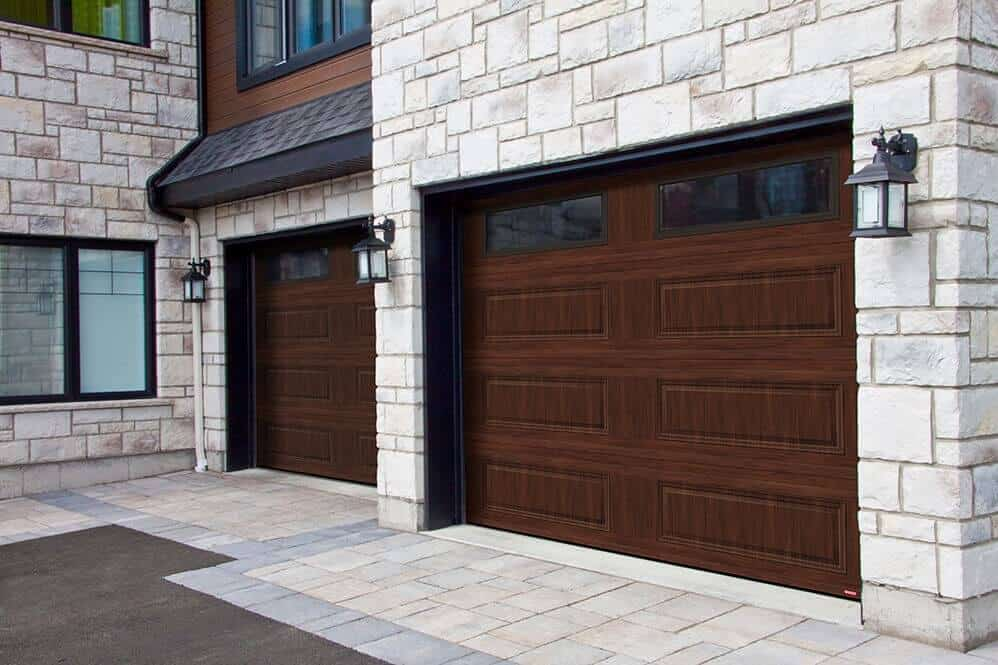 You like this look? This garage door is a Standard+ Classic XL, 9' x 7', American Walnut, Clear windows.
