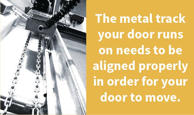 The metal track your door runs on needs to be aligned properly in order for your door to move.